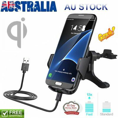 Qi Fast Wireless Car Charger Holder Air Vent Mount for Samsung S8 S8+ S7/Edge AU