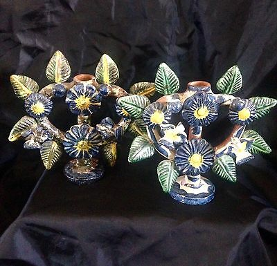 VINTAGE PAIR of MEXICAN FOLK ART TREE OF LIFE CANDLE HOLDERS