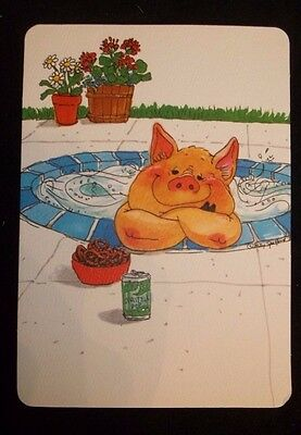 Vintage Suzy's Zoo Post Card Pig in hot tub