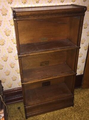 Scarce Sized 3/4 Globe Wernicke Oak Barrister Bookcase  3 Stack