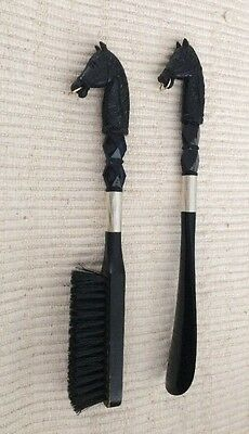 Vintage Collectible Horse Head  Clothing Brush and Shoe Horn Set-Black &  Silver