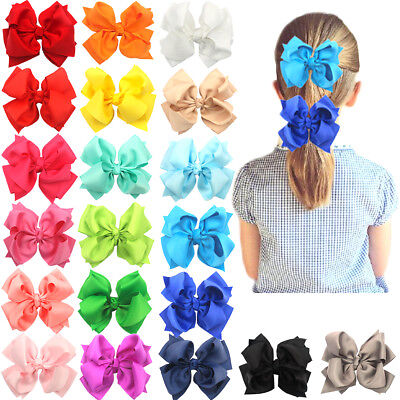 "20Pcs Boutique Girls Kids Children 4"" Grosgrain Ribbon Hair Bows Alligator Clips"