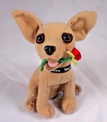 """Applause Taco Bell Dog 6"""" Stuffed Animal Plush Chihuahua Rose in Mouth"""