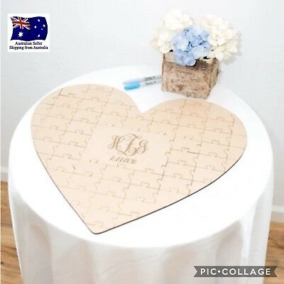 Personalised Customised Love Heart Jigsaw Puzzle Wedding Guest Book Signing Alt