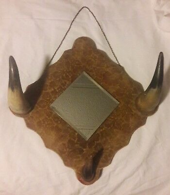 Antique Early 1900's Steer Horn Hanging Mirror Rack