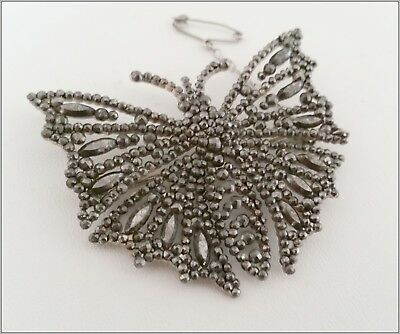 Antique Large Rare riveted  Georgian cut steel butterfly brooch