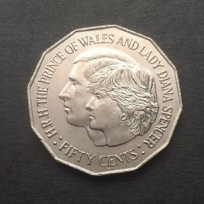 1981 Australian 50 Cent Coin - Royal Wedding H.r.h Prince Of Wales & Lady Diana