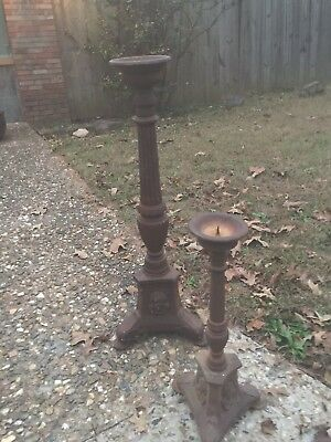 PAIR ANTIQUE CAST IRON CANDLE STANDS - Large, Renaissance, Gorgeous!!