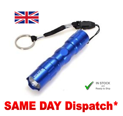 3W LED TORCH FLASHLIGHT WATERPROOF Includes AA battery & KEYRING Fast P&P