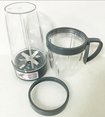 Cup and Blade 5 Pc Set for NutriBullet Replacement High Speed Blender Mixer