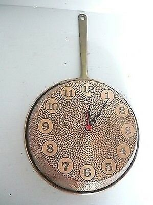 Wall clock copper burnished hammered pan diameter 26 cm