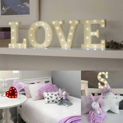 LED Light Alphabet Lights Up White Warm Letters Standing Hanging  A-Z @ Heart