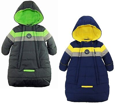 iXtreme Baby Boys Snowsuit Colorblock Stripes Puffer Carbag Bunting
