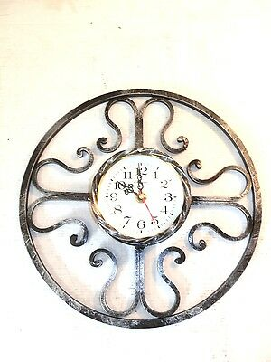Wall clock quartz wrought iron round sunburst
