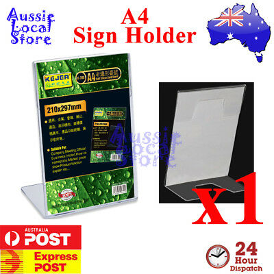 A4 Acrylic Single Sided Slanted Counter Sign Holder Portrait Picture Photo Manu