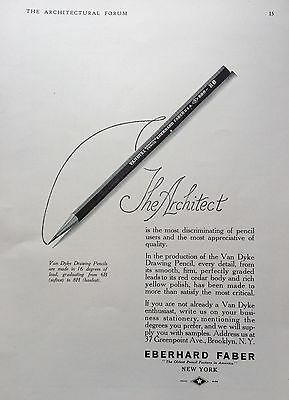 1920 Ad(G11)~Eberhard Faber Co. Nyc. Van Dyke Drawing Pencil For The Architect