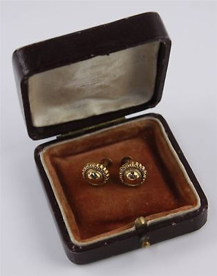 Pair of Vintage .375 9CT GOLD Ornate Textured Screw-Back Earrings - BOXED, 3.43g