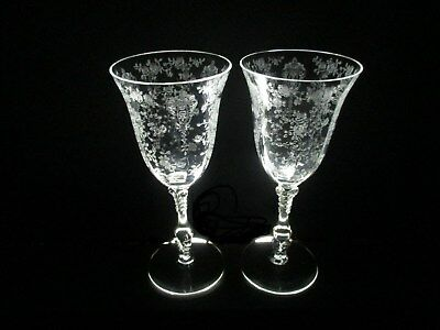 """2 -  Cambridge  Etched  Glass  Wine  Goblets, Rose  Point  Pattern  8-1/4""""  8 Oz"""