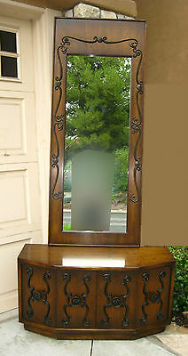 Vintage Mid Century Spanish Revival Style ENTRY TABLE & WALL MIRROR Wrought Iron