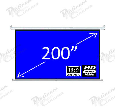 "New 200"" Electric HD Projection Screen projector home cinema 16:9 Grey"