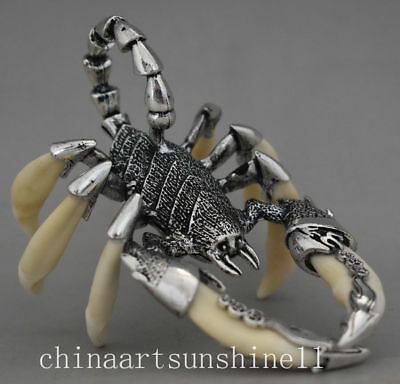 Exquisite China Silver Inlay Tooth Collect Handmade Carved Scorpion Statue