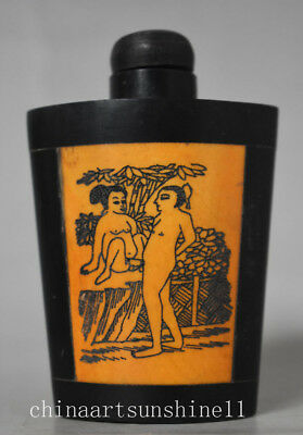 Art Deco Chinese Collection Old Bone Snuff Bottle Handwork Carved Belle Statue