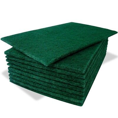 10 Pack Of Heavy Duty Green Catering Kitchen Sponge Scourer Pads 23cm x 15cm