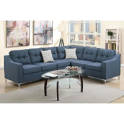 MODERN LIVING ROOM Sectional Sofa L Shaped Corner Couch Tufted Back Navy  Fabric