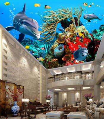 Free Clustered Fish 3D Ceiling Mural Full Wall Photo Wallpaper Print Home Decor