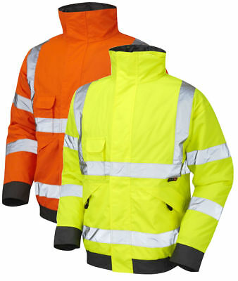 Leo Workwear J01 Chivenor Mens Hi Vis Bomber Jacket Waterproof Quilt Lined Coat