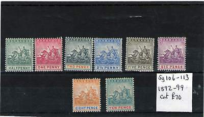 Barbados 1892-99 Mint Stamps Horses Sg 106 113 Cat £70.00+