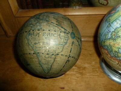 Vintage style old ancient world desk globe paper map on small stand