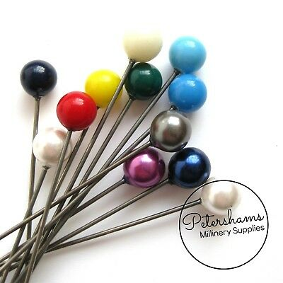 Set of 12 Extra Long 9cm (3.5 inch) Hat Pin Style Beaded Millinery Pins