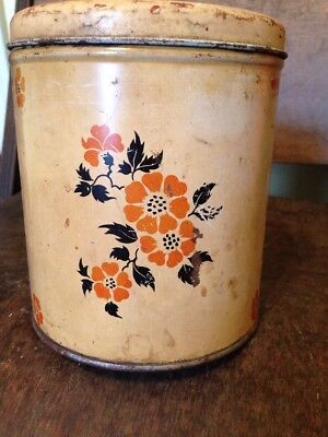 Retro Kitchen Canister Flowers Vintage Tin Metal