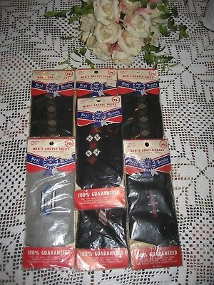 Vintage Argyle Mens Socks Size 11-13 Printed  New Old Stock 7 Pair In Lot