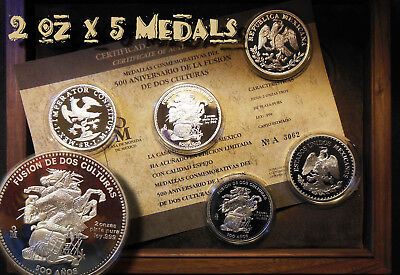 Mexico 1992 2 oz x 5 Silver 999 Commemorative 500 years Medals UNC EBUX Special