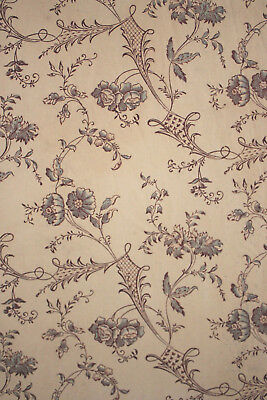 Antique French c1850 floral fabric 18th century design STUNNING aged timeworn