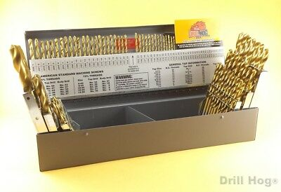 115 Pcs Drill Hog Letter Number Drill Bit Set Titanium Ti-22 Lifetime Warranty