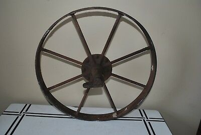 Antique Cast Iron Wheelbarrow Wheel ~ Old Vintage Farm Cart Tool Primitive Decor