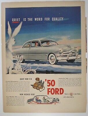 1950 Ford V-8 Custom Deluxe Club Coupe Print Ad