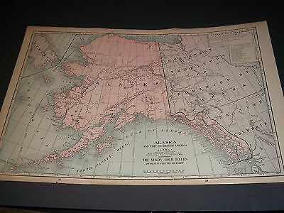 1900 20 x 13 ANTIQUE ALASKA YUKON GOLD FIELDS color state map original authentic