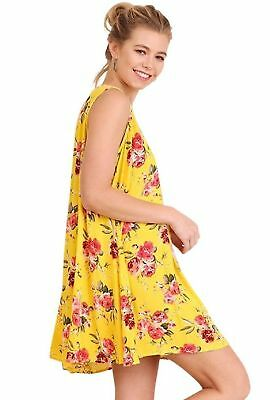 NEW WHOLESALE LOT Umgee Yellow Floral Keyhole Swing Dresses, Lot of 8