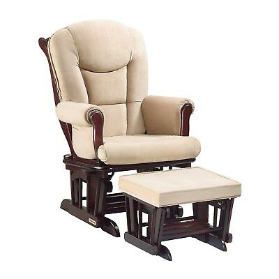 Shermag Glider Rocking Chair Cherry Finish with Beige Cushions (No Ottoman!)