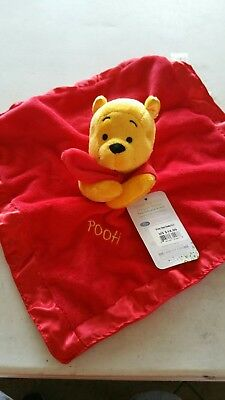 "Baby Winnie the Pooh Rattle Plush n Satin Lovey Security Blanket 2011 13"" x 13"""