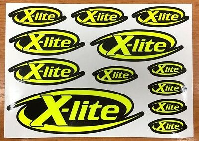 X-lite decal set 12 Fluorescent Yellow printed and laminated helmet stickers