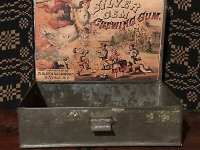 Antique  Silver Gem Chewing Gum General Store Display Tin Box Buffalo, NY AAFA