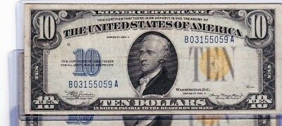 1934A $10 North Africa Silver Certificate Note Fr #2309, SOLD AS EACH, U GET ONE