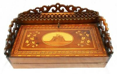 Antique Inlaid Wooden Portable Writing Lap Desk Made in Spain w/Key