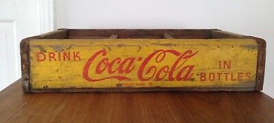 Vintage Coca Cola 1969 Yellow Wood Wooden Box Crate Soda Case