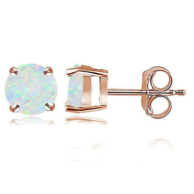 Rose Gold Opal 6mm Round Stud Earrings H2H3